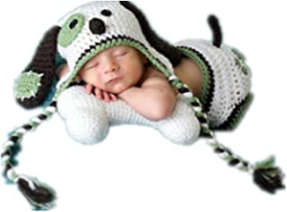 Coberllus Baby Photography Props Boy Girl Photo Shoot Outfits Newborn Crochet Costume Infant Clothes Puppy Hat Shorts