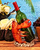 Ebros Nautical Coastal Dancing Red Lobster Drunken Cajun Creole Delight Wine Bottle Holder Caddy Figurine Home Kitchen Dining Party Hosting Decor Sea Life Marine Shell Seafood Shrimping Fishing Statue