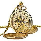 Orologio uomo da tasca Zeiger Orologio Steampunk scheletro meccanico orologi uomini Retro pendente orologio da tasca W346-M (Oro)