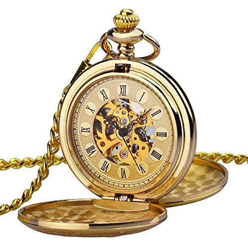 Reloj de Bolsillo Zeiger Reloj Steampunk Reloj Hombre mecanica Doble Retro Reloj Colgante Estilo de Cobre del Reloj de Bolsillo esquelético mecánico Dore un Bolsillo de los Hombres w347