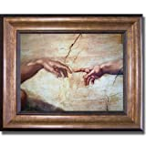 Artistic Home Gallery Creation of Adam (Detail) by Michelangelo Premium Bronze-Gold Framed Canvas (Ready-to-Hang)