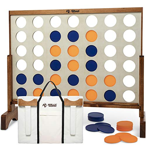 Rally and Roar Giant 4 in A Row, 4 to Score with Carrying Bag - Premium Wooden Four Connect Game Set in 2' Wood Grain - Oversized Family Outdoor Party Games for Backyard, Lawn, Parties, Bar Game