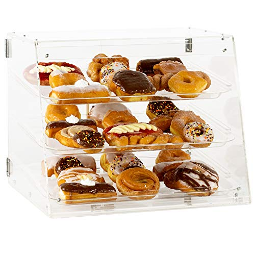 VIVO 3 Tray Acrylic Display Case, 21 x 17 x 16 inch, 3 Tier Commercial Countertop Pastry Display with Rear Door Access and Removable Shelves (CANDY-DSPY3)