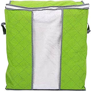 Jeval Foldable Charcoal Clothes Sweater Blanket Closet Organizer Storage Bag Box-Vertical, Single Compartment (Parrot Green)