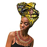 PengGengA Africaine Wax Tête Echarpe Femme Traditionnel Imprimé Ethnique Mode Turbans Foulard Bandeau Noué Élastique (Style#3, 50 * 180cm)