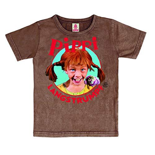 Logoshirt Pippi Langstrumpf Portrait Kinder T-Shirt braun I Grafik-Shirt kurzärmlig mit Rundhalskragen I Lizenziertes Originaldesign I Logo-Print langlebig & hochwertig I Baumwolle I Vintage-Stil