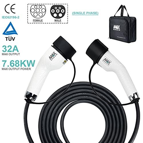 MAX GREEN Cable de Carga para vehículos eléctricos e híbridos enchufables de Tipo 2 a Tipo 2, | 32Amp | Monofásico | Potencia de Salida máxima 7.68KW | 5 Metros |