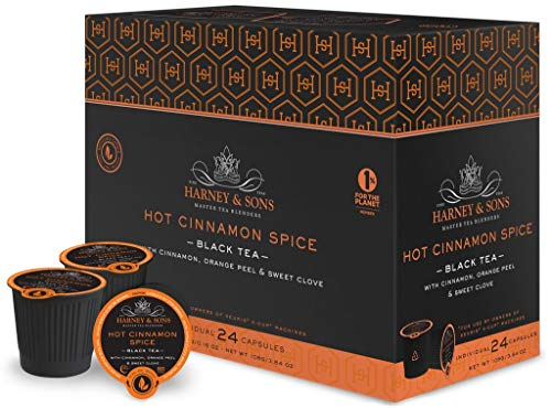 Harney and Sons Hot Cinnamon Spice Single Serve Tea Pods 72 Pack | Compatible with Keurig K Cup Brewers | No Sugar Added | One Capsule Per Cup