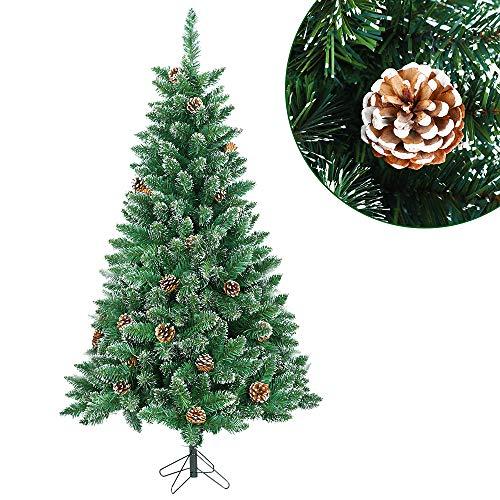 albero di natale 120 cm Aufun Albero di Natale Artificiale 120 cm Albero di Natale Artificiale Albero di Natale Decorativo PVC Verde con Effetto Neve con Supporto Decorazione Natalizia