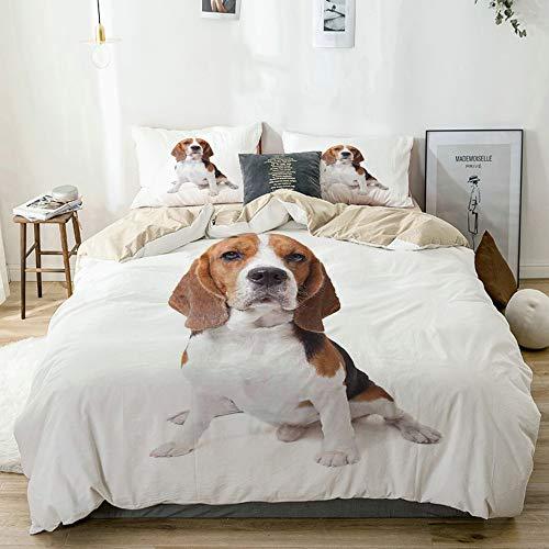 DAHALLAR Beige bedding - Duvet Cover Set,Beagle Dog Posing Loving Puppy Furry Friend Companion Domestic Animal,Microfibre Duvet Cover Set 200x200cm with 2 Pillowcase 50x80cm