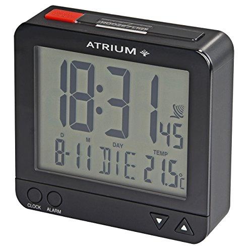 Atrium digitaler Funk-Wecker LCD sensorgesteuerte Nachtlicht-Funktion Schlummer-Funktion Obenabsteller Reise-Wecker schwarz/rot A740-7