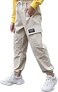 BoerMee Girls Sports Cargo Pants Elastic High Waist Hip Hop Overalls Jogger Trousers