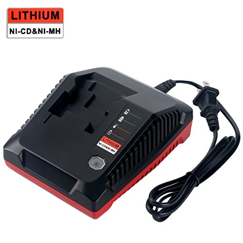 Biswaye Multi-Chemistry Slide Battery Pack Charger PCXMVC for Porter Cable Cordless Power Tool 18V Lithium Ion & NiCad NiMh Battery PC18B PC18BL PC18BLX