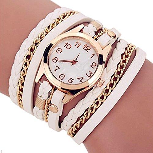 AIUIN 1 x Armbanduhr mit Quarzuhrwerk, Retro-Accessoires aus Metall, Lederarmband für Damen, mehrschichtig, Weiß
