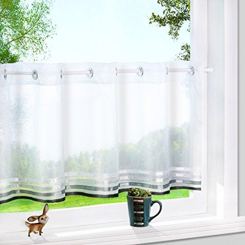 Yujiao Mao 1er Pack Voile Scheibengardine mit aufgenähten Satinbändern Ösen Küchen Vorhang HxB 45x90cm - Weiß/Schwarz