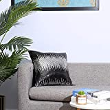 Poise3EHome 18x18 Inches Sequin Satin Throw Pillow Covers Sparkly Cushion Case for Wedding Christmas Home, Black+Silver