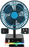 Hiree Table Fan with LED Lights, Quiet Air Circulator Desk Fan with USB Charging Port and 2 AC Outlets - Suitable for Home, Bedroom, Office
