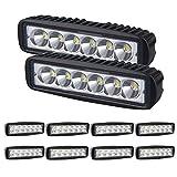 SKYWORLD 6 pulgadas 18W Spot LED barra de luz de trabajo que conduce luces de niebla para un automóvil todoterreno 4WD camión tractor tractor remolque 4x4 SUV ATV (paquete de 10)