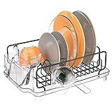 mDesign Abtropfgestell mit Abtropfschale – Abtropfablage für die Küchentheke oder Spüle – Geschirrabtropfer mit drehbarem Ausguss aus Metall und Kunststoff – schwarz/durchsichtig