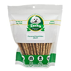 Rawhide Dog Treats for Small Dogs Made in The USA Only by Lucky Premium Treats