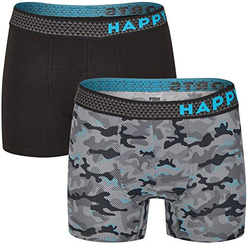 Happy Shorts 2 Pants Jersey Trunk Herren Boxershorts Boxer Camouflage Tarnmuster, Grösse:M - 5-50, Farbe:schwarz