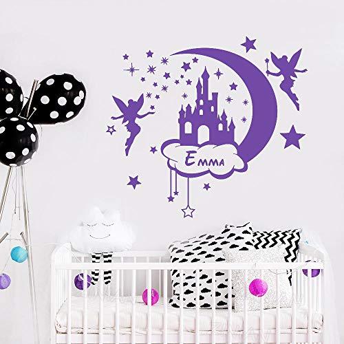 Cuento de hadas castillo estrella habitación de niños pegatina de pared personalizada nombre de niña calcomanías de pared decoración para el hogar habitación de jardín de infantes dormitorio 65X56 cm