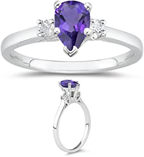 0.10 Cts Diamond & 0.55 Cts of 7x5 mm AAA Pear Amethyst Classic Three Stone Ring in 14K White Gold