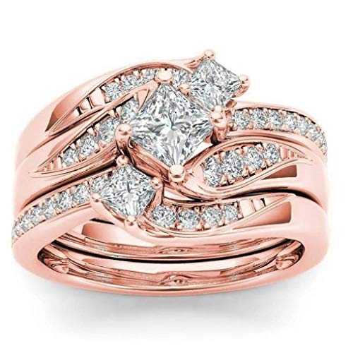 Xjp Rings, for Women Romantic Engagement Wedding Floral Ring Wedding Jewelry(Rose Gold,8)