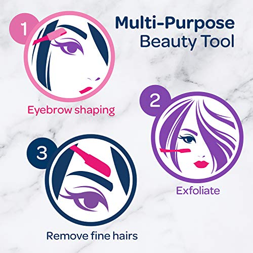 Schick Hydro Silk Touch-Up Multipurpose Exfoliating Dermaplaning Tool, Eyebrow Razor, and Facial Razor with Precision Cover, 3 Count (Packaging May Vary)