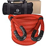 Miolle Super Heavy Duty 2' x 30' Kinetic Recovery & Tow Rope, Red (131,600 lbs) for Heavy Equipment