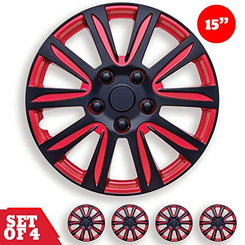 15 inch hubcaps black and red - 4