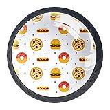 YATELI Patrón de Comida Plana Burger Donut Hot Dog Pizza Perillas de extracción de para gabinetes, armarios, Puertas y cajones de Muebles: se Venden como un Paquete de 4 perillas