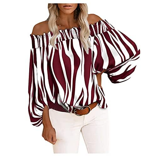 Camisa de Encaje Manga Larga con Cuello En V para Mujer Jersey Fino con Escote En Pico Profundo Camiseta de Gasa Lindo Estampado Casual de Rayas de Cebra Floral de Talla Grande (Wine3, S)