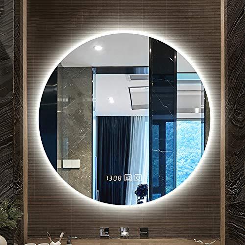 Bathroom mirror cabinet Nórdico Ronda Iluminado Retroiluminación Led Luz del Baño Espejo con El Interruptor Táctil Espejo De Maquillaje Decoración De Pared Inteligente Anti-Niebla Sin Marco