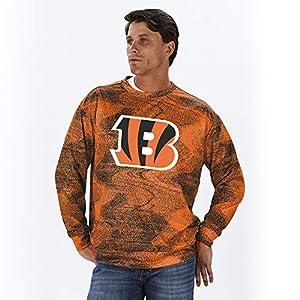 NFL Cincinnati Bengals Men's Crew Neck Sweatshirt, Black/Orange, Large