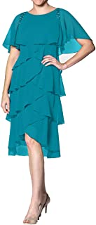 Chiffon Mother of The Bride Dresses Plus Size Evening Formal Gowns Short Prom Dress Sleeves