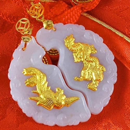 Wuligeya Hanger ketting natuurlijke jade goud ingelegd jade draak en phoenix prijs hanger