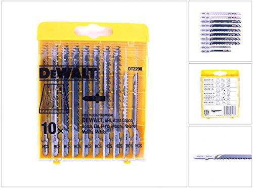 DeWalt HCS-decoupeerzaagbladen (10-delig Set voor hout, voor gebruik in decoupeerzagen (kabel en accu), bestaande uit 2x DT2175, 2x DT2177, 1x DT2050, 2x DT2186, 1x DT2168, 2x ST2075) DT2290