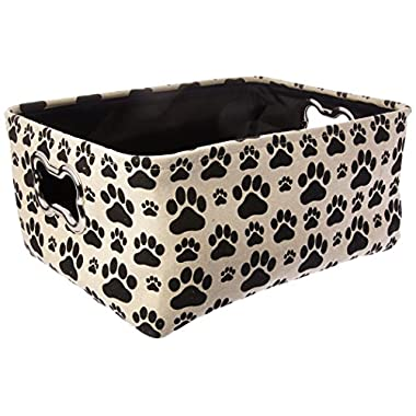 "Winifred & Lily Pet Toy and Accessory Storage Bin, Organizer Storage Basket for Pet Toys, Blankets, Leashes and Food in printed ""Dog Paws"", Beige/Black"