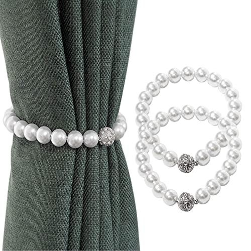 Lvcky 2 Stück weiße Perlen, magnetische Vorhang-Clips, einfacher und eleganter moderner Stil, für die meisten Vorhänge geeignet