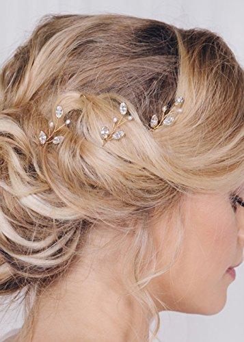 FXmimior – 3 Haarnadeln aus Roségold, mit Perlen und Strasssteinen in Blattform, perfekt als Brautschmuck