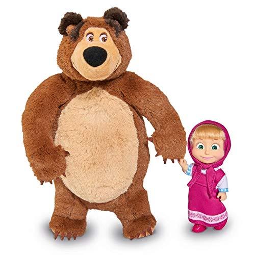 Simba 109301072 Mascha und der Bär Set Plüschbär + Puppe, klein