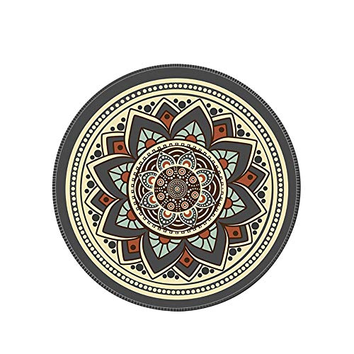 Kanggest.Cojín de ratón Redondo Piel Personalizada Mandala Flor Almohadilla de Escritorio única Redonda Alfombrilla de ratón Alfombrilla de Escritorio Redonda