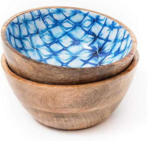 Set of 2 Wooden Bowls for Fruit and Salad, Serving Bowls for Cereals, Pasta, Soup, Desserts, 6 Inch, Mango Wood, Blue Shibori
