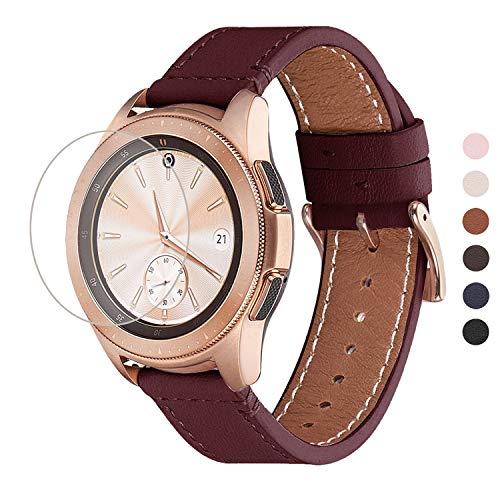WFEAGL Kompatibel mit Samsung Galaxy Watch Armband 42mm/Gear S2 Classic/Gear Sport/Huawei Watch 2/Huawei Watch GT Elegant,20mm Top Grain Leder Ersatzband(20mm,Wein/Golden)