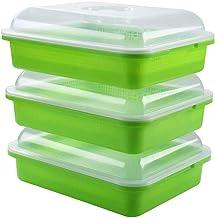Andifany 3-Pack zaad sprouter lade bodemvrije grote capaciteit gezonde tarwegras kweker kiemen container kit met deksel