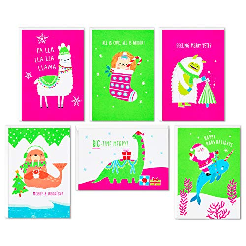 Hallmark Boxed Christmas Cards Assortment, Merry and Bright (6 Designs, 24 Cards with Envelopes) (5XPX9477)