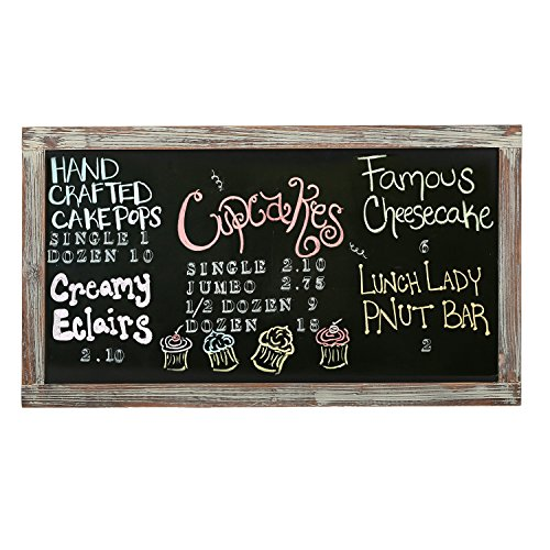 MyGift 35-Inch Wall-Mounted Chalkboard, Vertical/Horizontal Hanging Torched Wood Frame Message Board