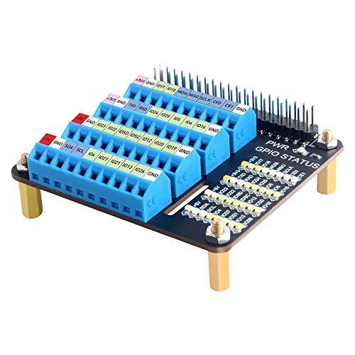 GeeekPi GPIO Screw Terminal Hat,Raspberry Pi GPIO Extension Board for Raspberry Pi 4B/3B+/3B/2B/B+/Zero(Zero W)