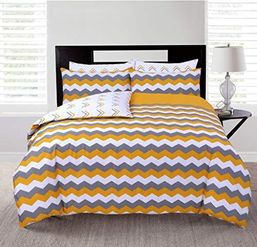 Carefree Dream Bedding Juego de funda de edredón reversible King 100% algodón con 2 fundas de almohada, color mostaza y gris Chevron